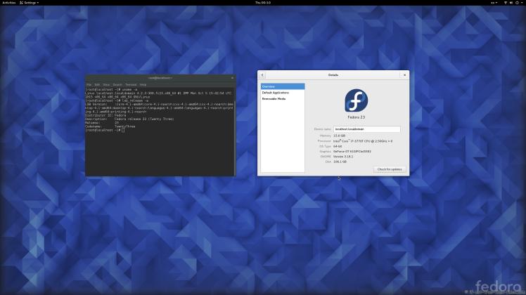 Fedora 23 Gnome 3.18.1