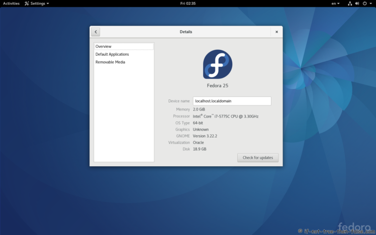 Fedora Upgrade 25 from 24 Gnome 3.22.2 Details