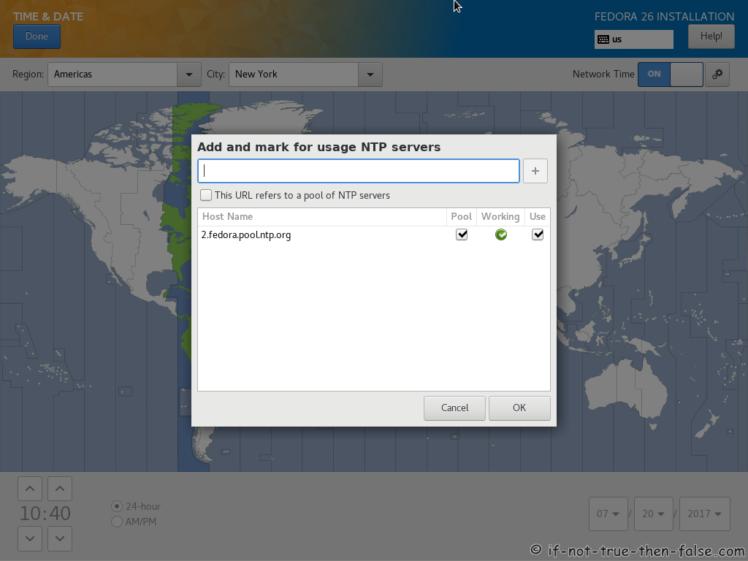 Fedora 26 NTP Servers