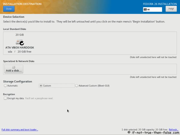 Fedora 26 Installation Destination