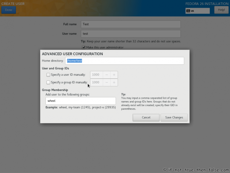 Fedora 26 User Account Advanced Options Screen