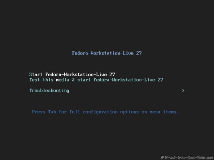 Fedora 27 Boot Option Menu