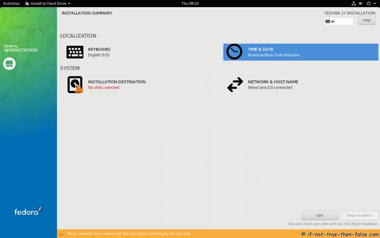 Fedora 27 Workstation Installation Summary Window