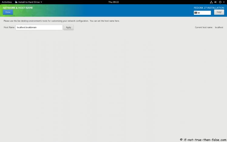Fedora 27 Setup Network and Hostname
