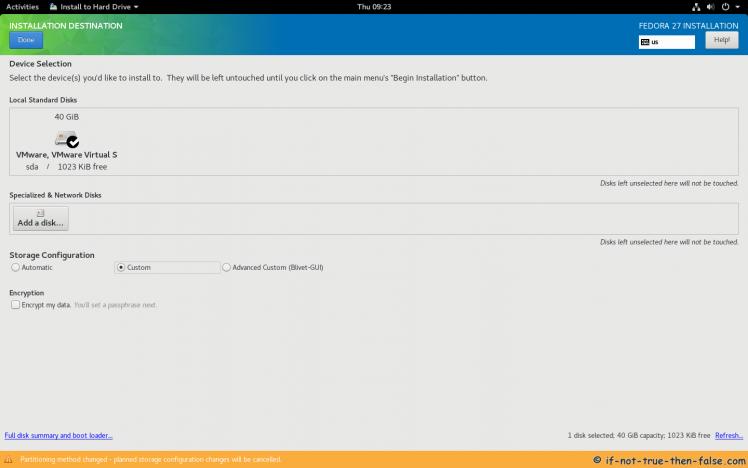Fedora 27 Select Installation Destination and Storage Configuration