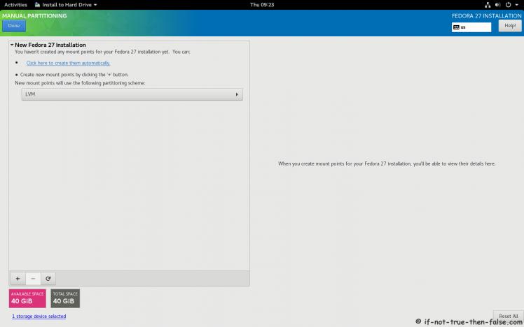 Fedora 27 Manual Partitioning