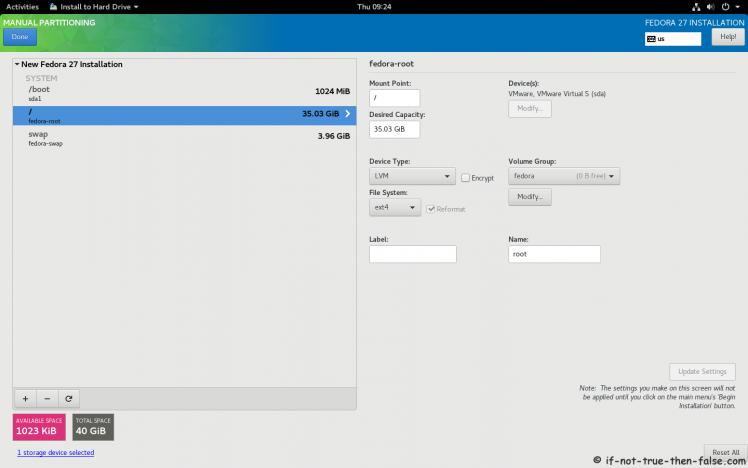 Fedora 27 Manual Partitioning 2