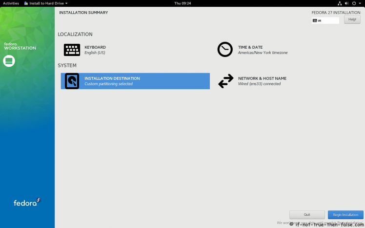 Fedora 27 Begin Fedora 27 Installation