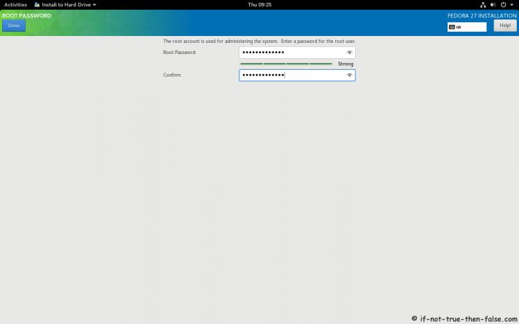 Fedora 27 Setup root Password