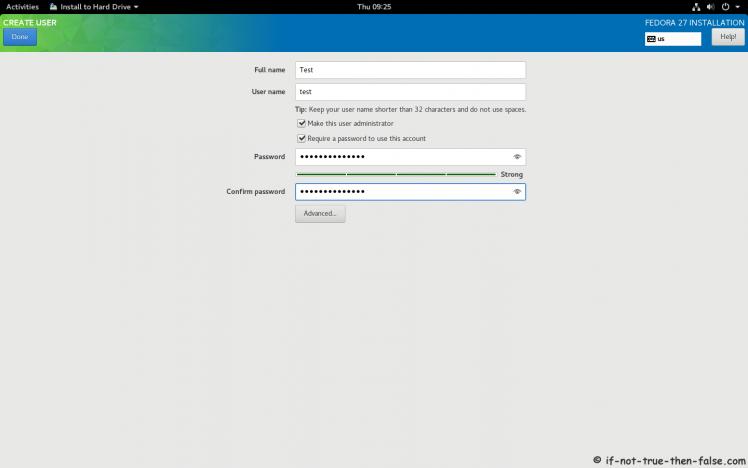 Fedora 27 Create User Account