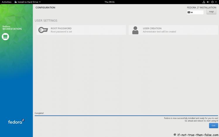 Fedora 27 Installation Done
