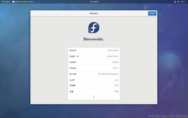 Fedora 27 Gnome 3.26.1 Welcome Screen