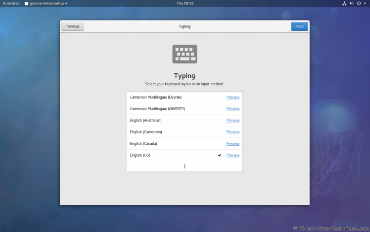 Fedora 27 Select Typing