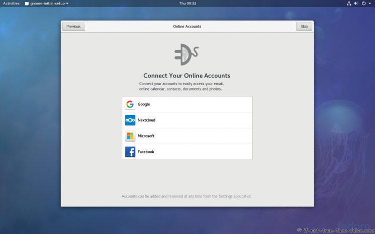Fedora 27 Online Accounts