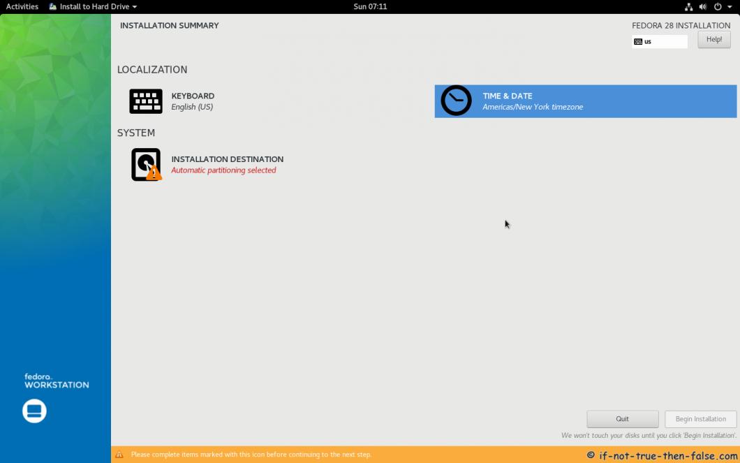 Fedora 28 Install Installation Summary
