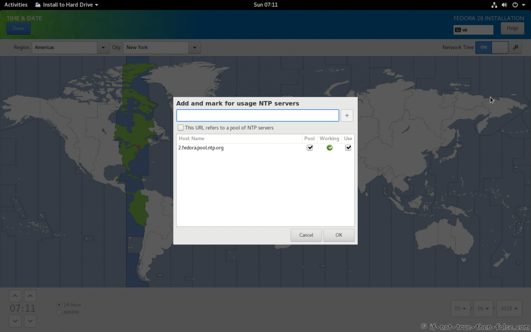 Fedora 28 Install NTP Servers