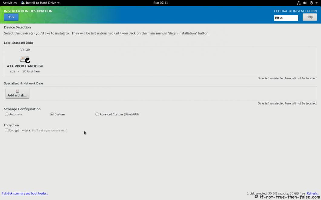 Fedora 28 Install Installation Destination