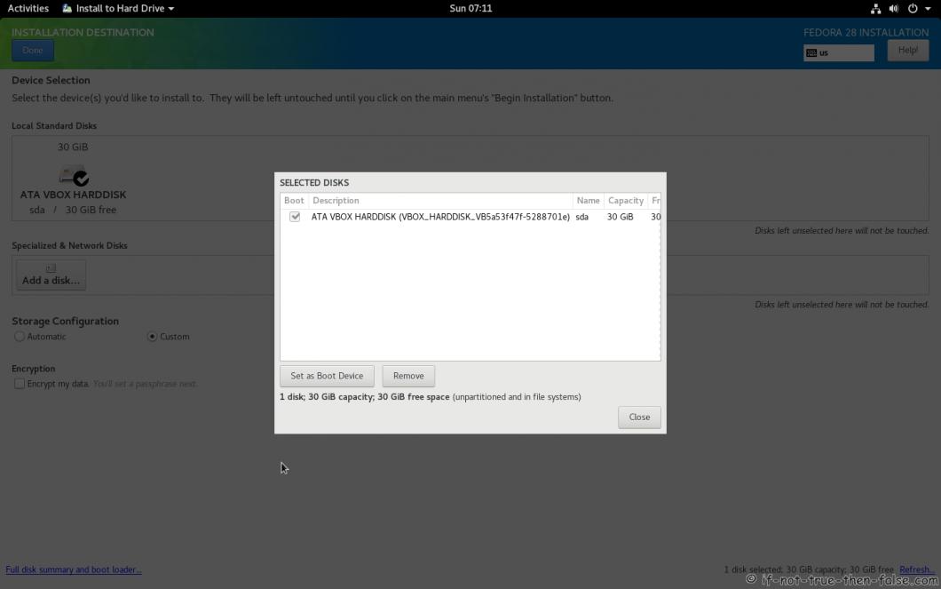 Fedora 28 Install Full Disk Summary
