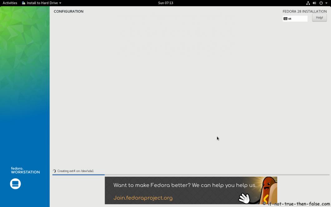 Fedora 28 Install Installer installing 1