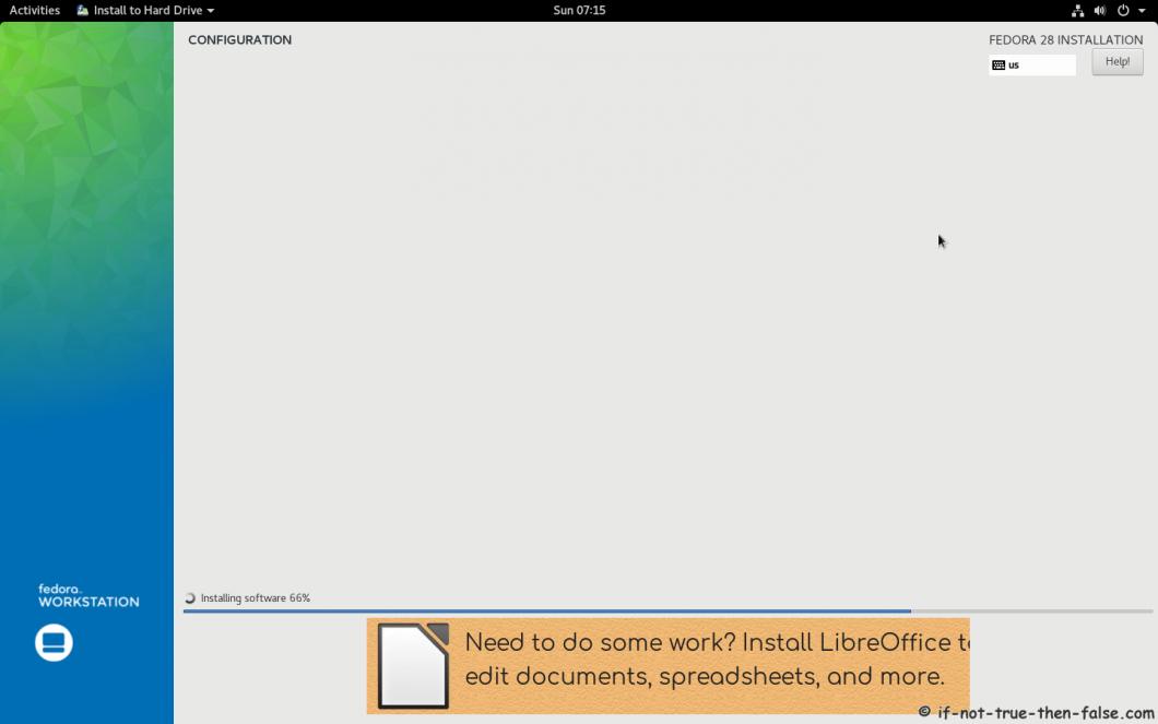 Fedora 28 Install Installer Installing 2