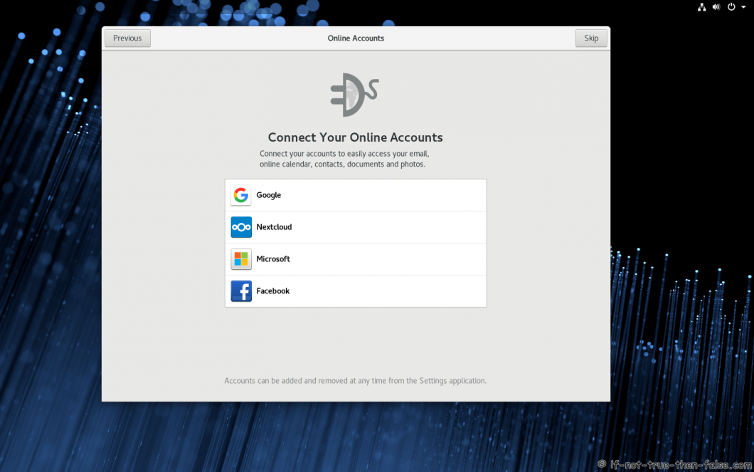 Fedora 28 Install Online Accounts