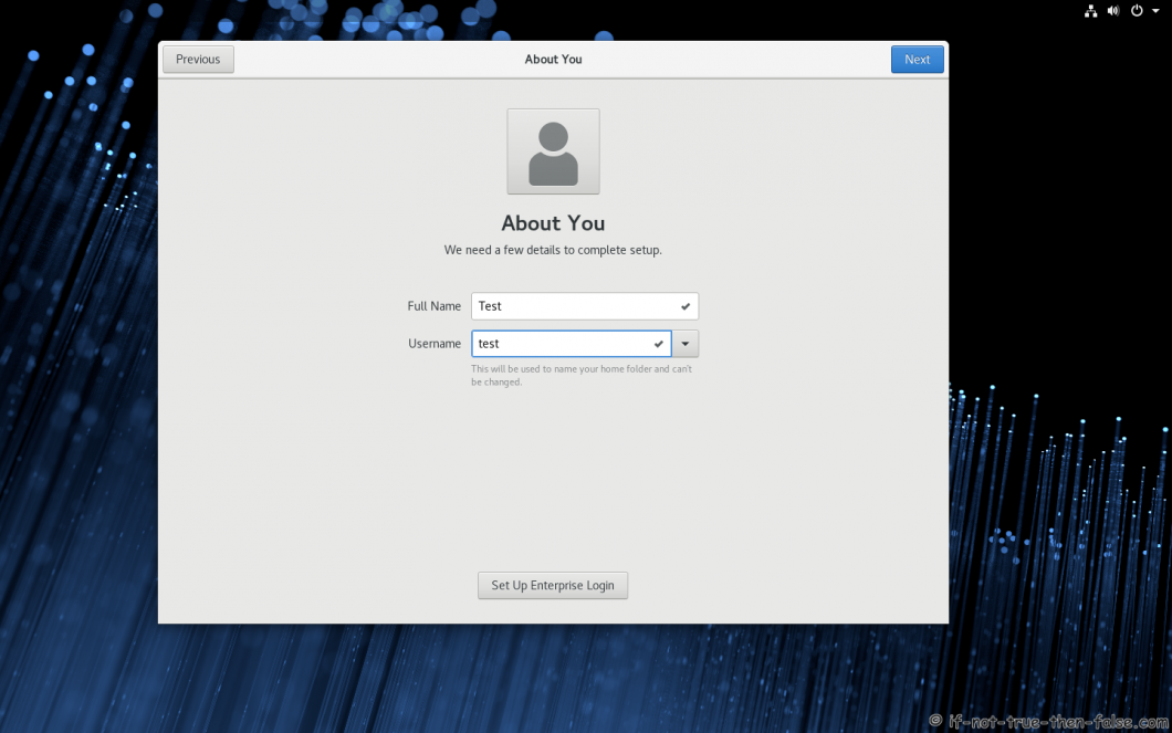 Fedora 28 Install About You Create User