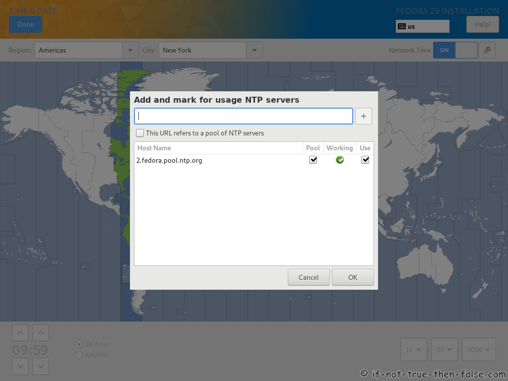 Fedora 29 Server Install ntp Servers