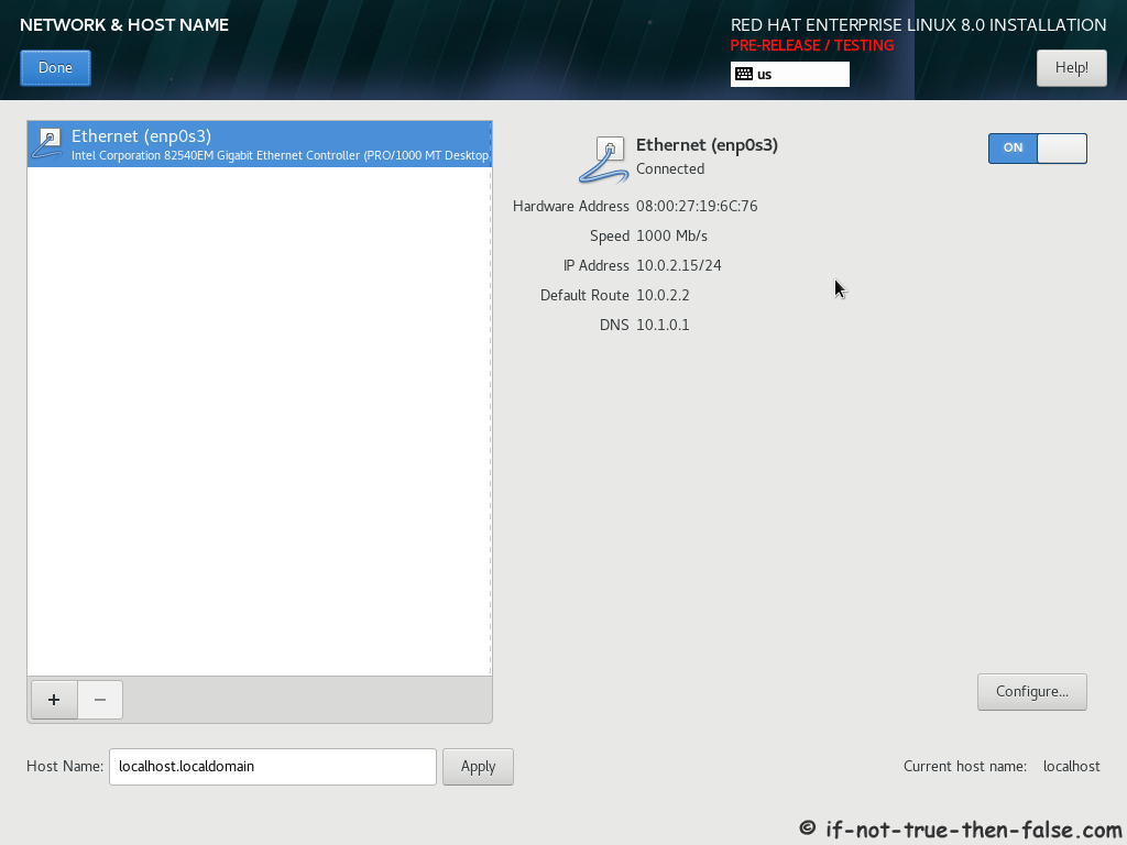 Red Hat RHEL 8 Install Network and Host Name