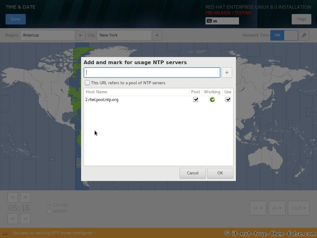 Red hat RHEL 8 Install NTP Servers