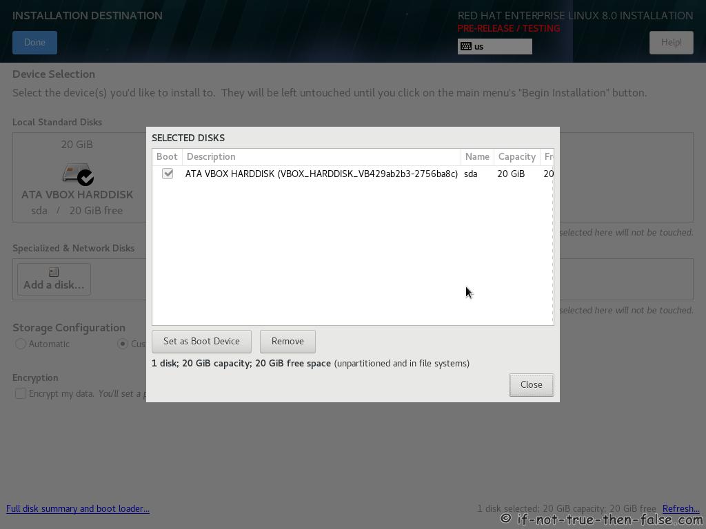 Red Hat RHEL 8 Install Full Disks Summary