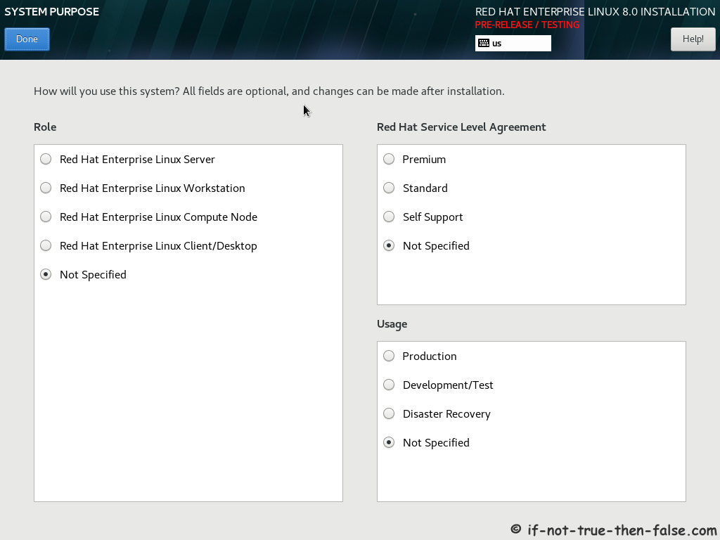 Red Hat RHEL 8 Install System Purpose