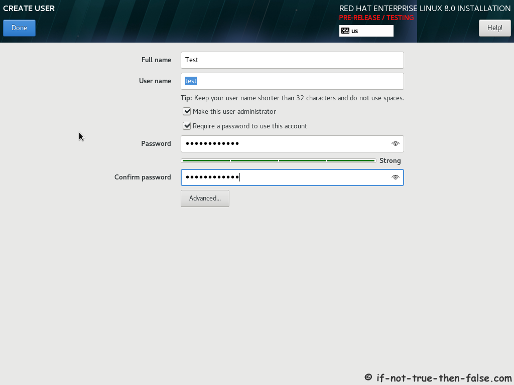 Red Hat RHEL 8 Install Create User