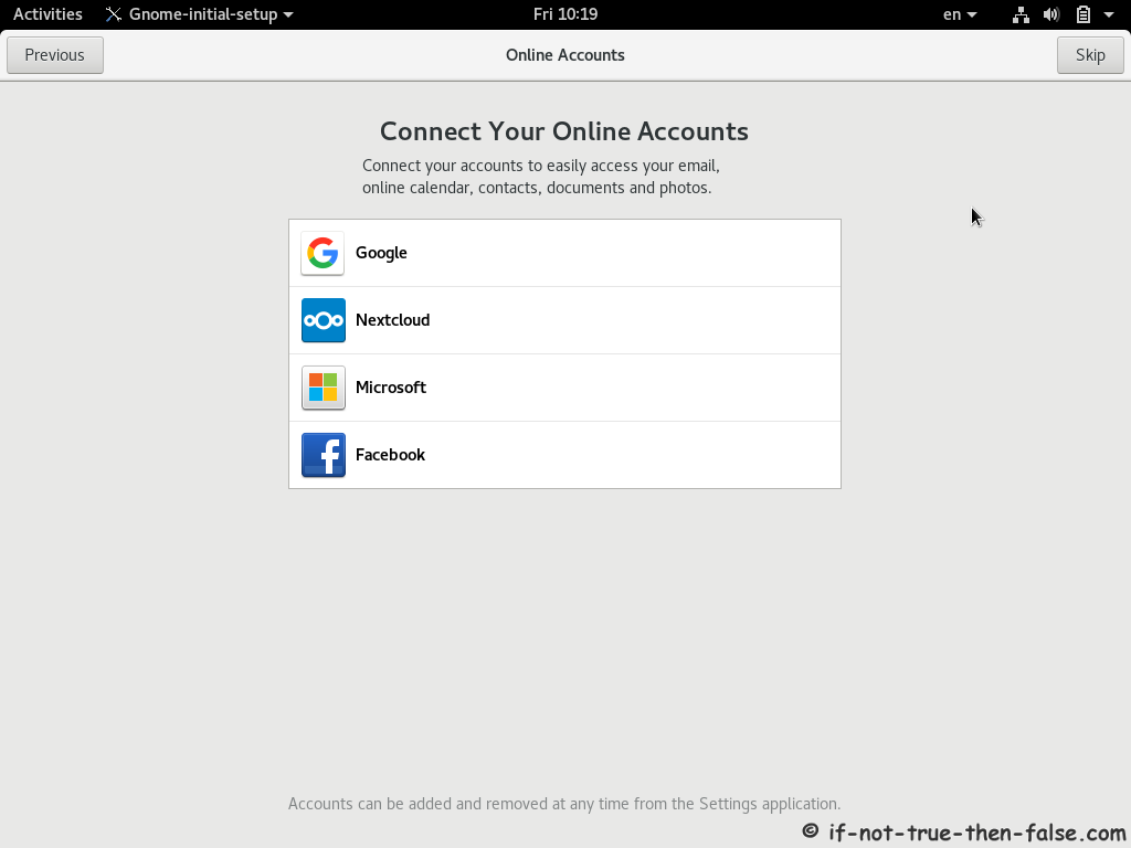 Red Hat RHEL 8 Install Online Accounts