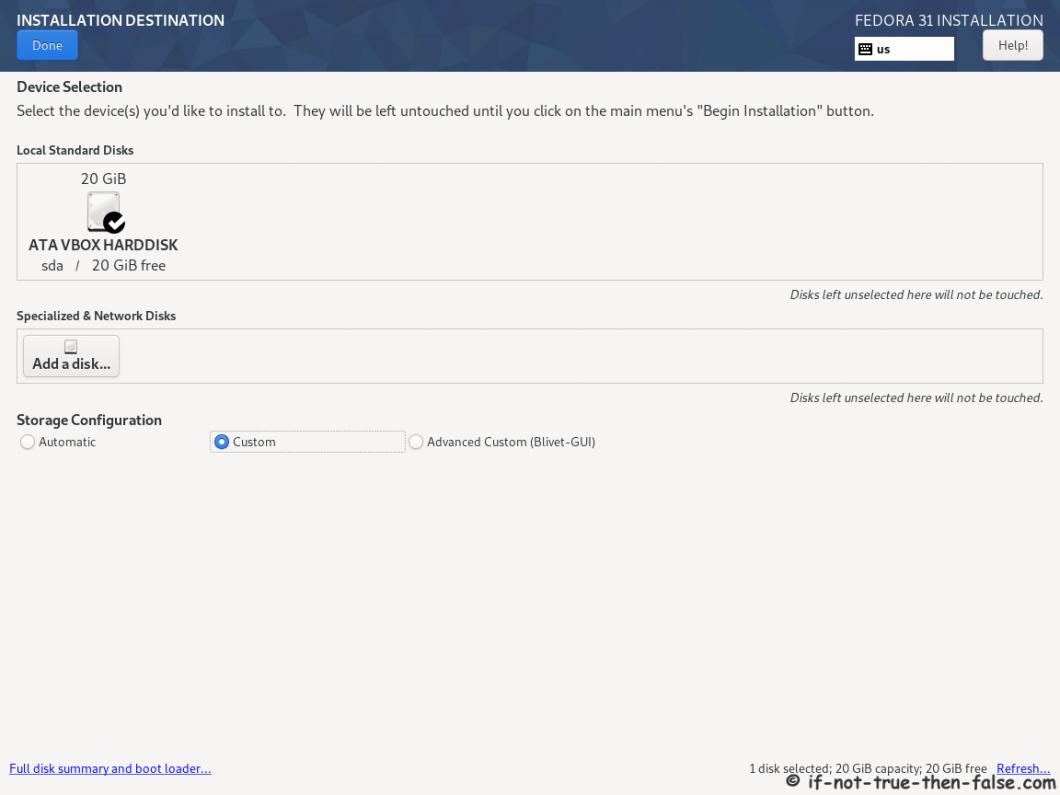 Fedora 31 Desktop Install - Installation Destination