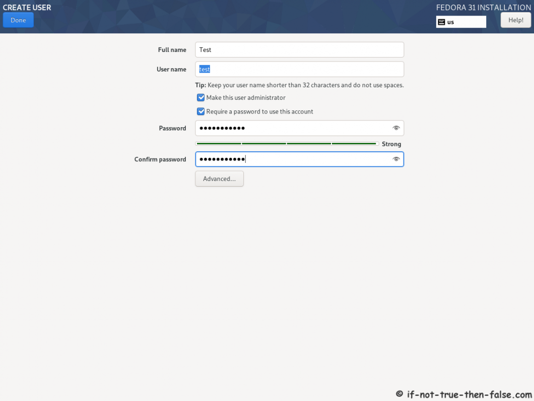 Fedora 31 Desktop Install - Create User