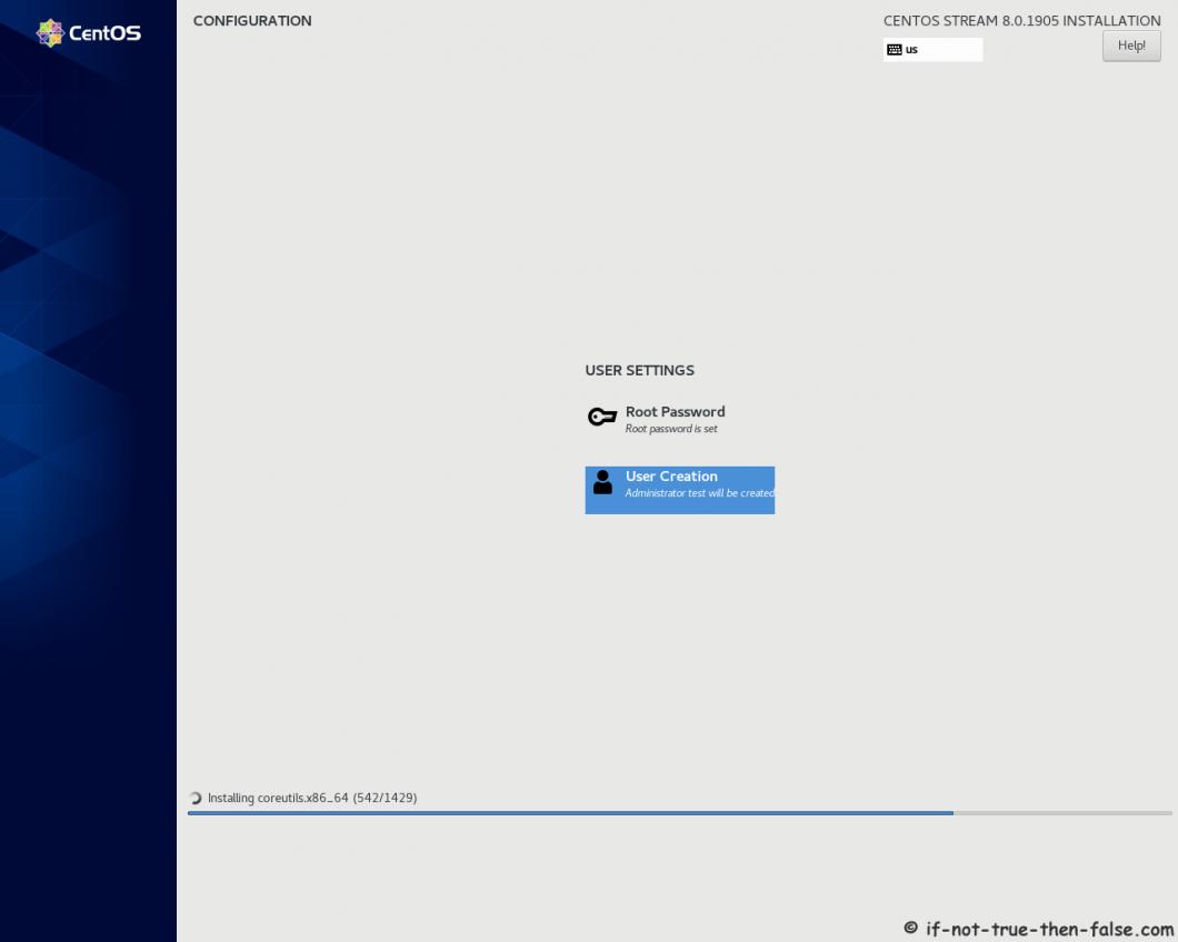CentOS Stream 8 Installer Installing