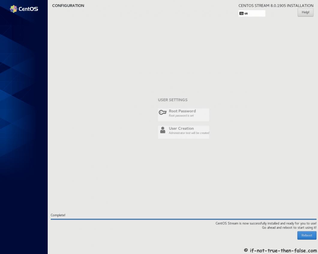 CentOS Stream 8 Installation Complete Reboot