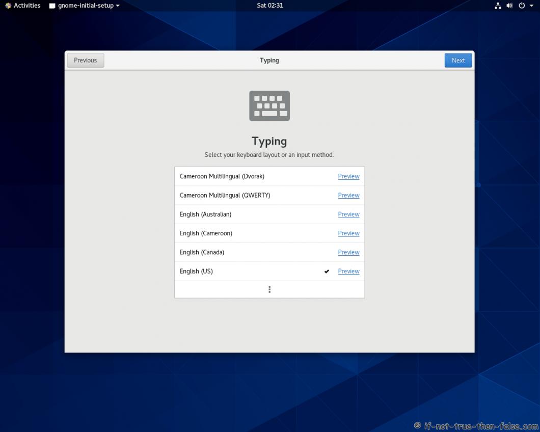 CentOS Stream 8 Gnome Initial Setup Typing
