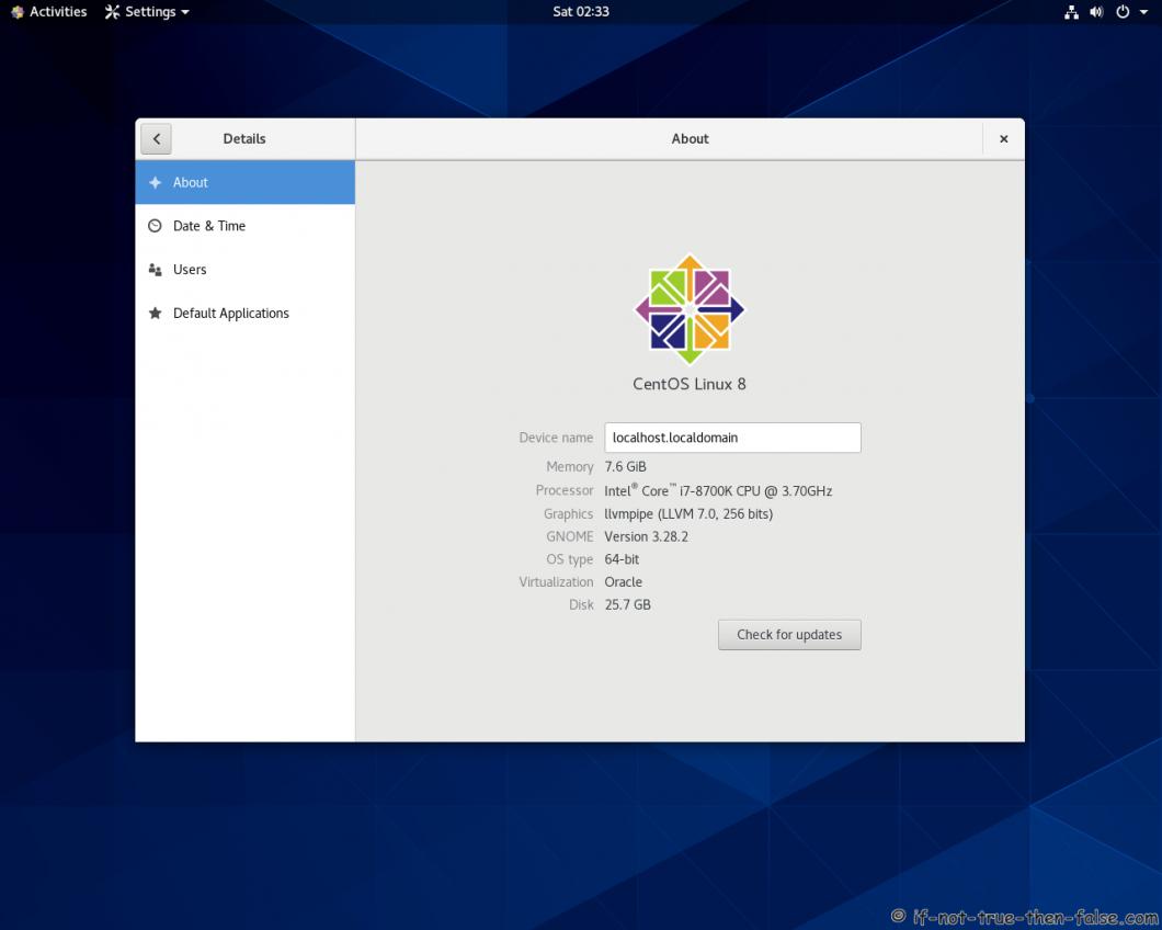 CentoOS Stream 8 Gnome 3.28.2 Details