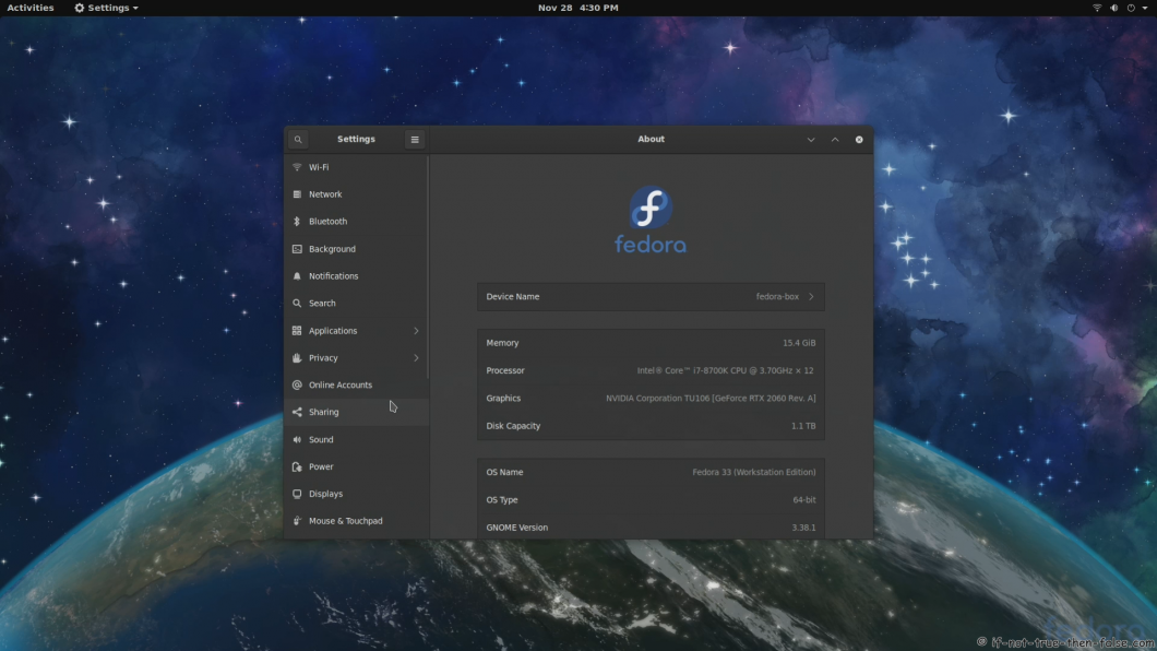 Fedora 33 Gnome Desktop About