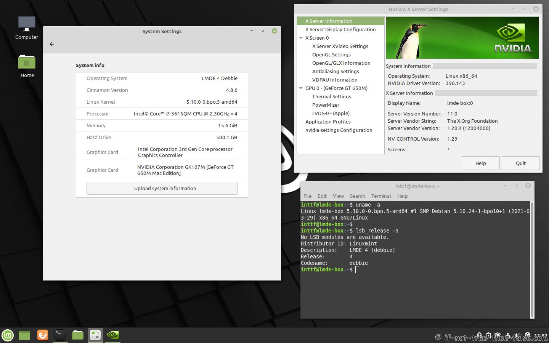 NVIDIA 390.143 Running on LMDE 4 Debbie Kernel 5.10 Cinnamon 4.8.6