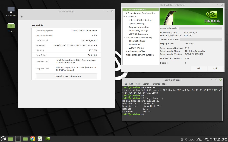 NVIDIA 418.113 Running on Linux Mint 20.1 Kernel 5.4.0 Cinnamon 4.8.6