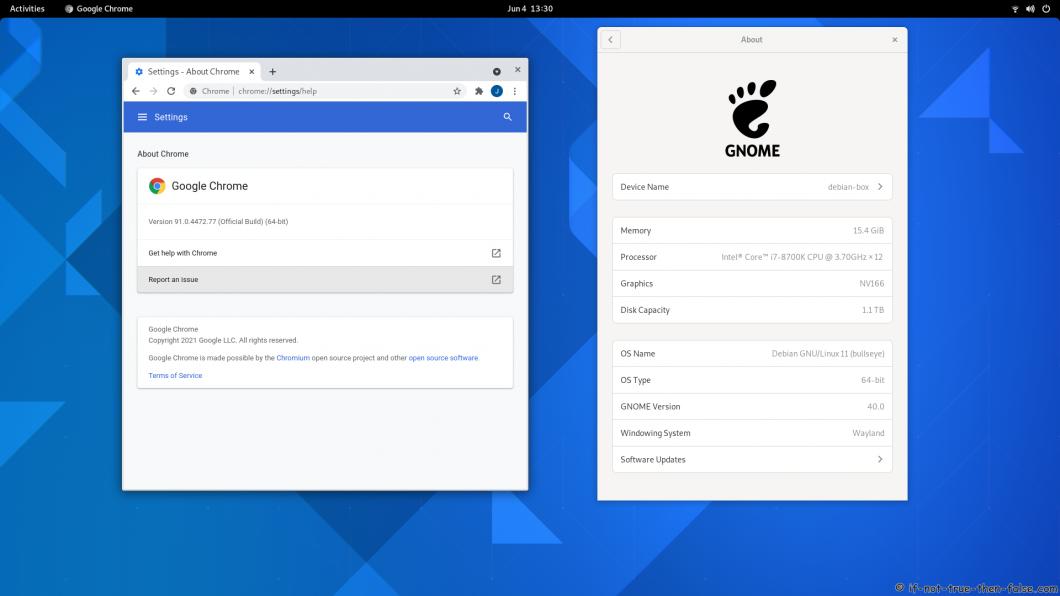 Google Chrome Stable running on Debian Bullseye 11