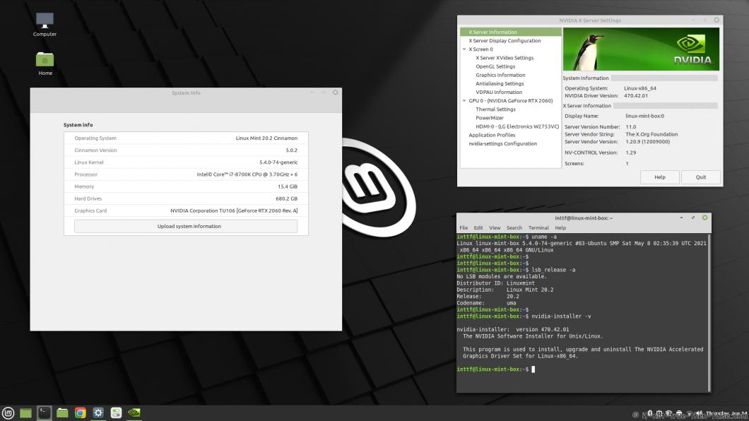 NVIDIA 470.42.01 Running on Linux Mint 20.2 Cinnamon 5.0.2